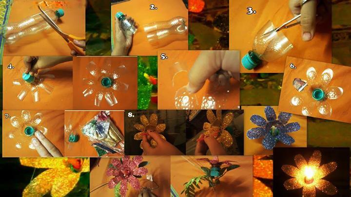A fun-way to #GoGreen this #Diwali! #DIY Diwali lamp made from plastic bottles..