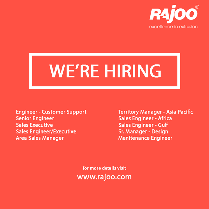 If technical depth, breadth of exposure and career growth is what you are looking for, Rajoo Engineers Limited, invites you to design your career with us. For complete details visit www.rajoo.com/careers.html