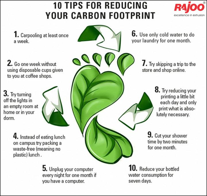 Tips for reducing your carbon footprint.  #GoGreen #RajooEngineers #Rajkot