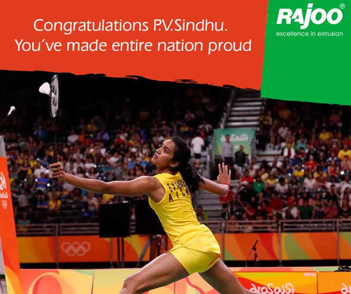 Congratulations on the Win  P.V.Sindhu. You are the Pride of India.  #Congratulations #PVSindhu #Badminton #RIO2016 #Olympic2016 #RajooEngineers