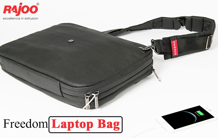 """There's a reason why this product has the word """"Freedom"""" included. Offering a bag that trades space for versatility, Freedom bag is the backpack that comes with a 15,000 mAh power cord with two USB ports. This means you can charge your camera, smartphone, laptop or other electronic device no matter where you find yourself.   #TechGadgets #LifemadeEasy #RajooEngineers #Rajkot"""