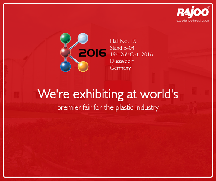 Rajoo Engineers Limited,India is exhibiting at the world's largest trade fair for the plastics industry at K Trade fair, Dusseldorf. Do drop by if you're visiting!  #RajooEngineers #Rajkot