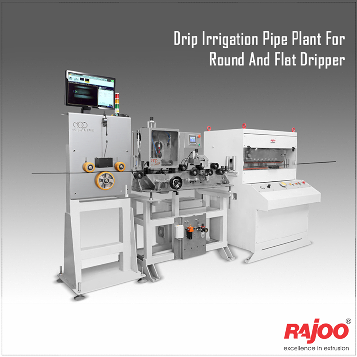 Rajoo offers drip irrigation extrusion systems for round and flat dripper with servo driven dripper insertion device, max output 250kg/hours. Dripex is equipped with two stainless steel Vacuum sizing tank and cooling System for precise water pressure, high corrosion resistant and long useful life. The 3-axis mechanical adjustment system with lateral position control allows quick precise positioning. The double belt haul-off is provided for optimum pulling force and to prevent ovality in pipe.  Read More: www.rajoo.com/Drip_Irrigation_Pipe_Plant_For_Round_And_Flat_Dripper.html#left-tab3  #RajooEngineers #Rajkot