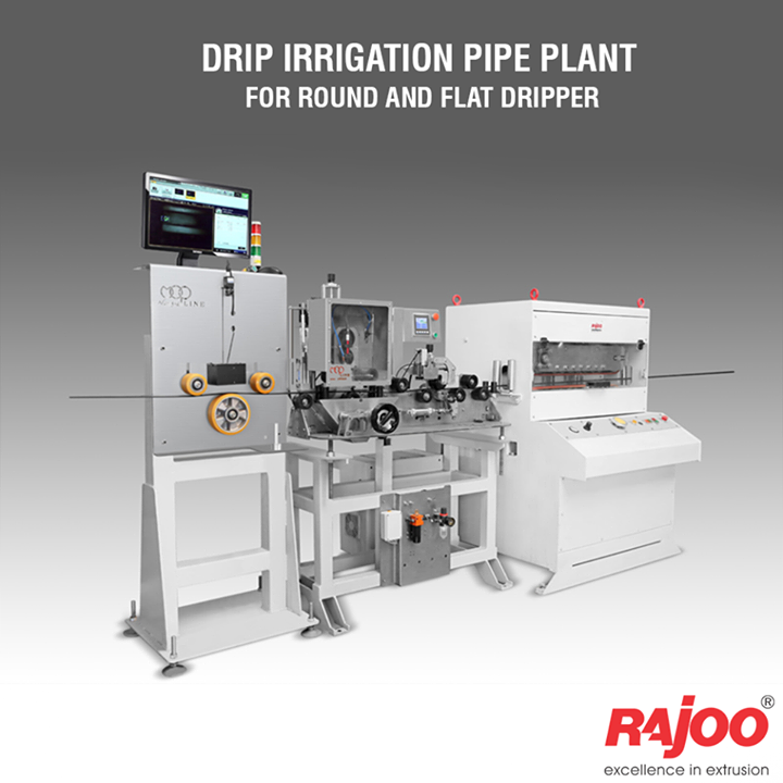 Rajoo offers drip irrigation extrusion systems for round and flat dripper with servo driven dripper insertion device, max output 250kg/hours. Dripex is equipped with two stainless steel Vacuum sizing tank and cooling System for precise water pressure, high corrosion resistant and long useful life. The 3-axis mechanical adjustment system with lateral position control allows quick precise positioning. The double belt haul-off is provided for optimum pulling force and to prevent ovality in pipe.  Read More : www.rajoo.com/Drip_Irrigation_Pipe_Plant_For_Round_And_Flat_Dripper.html  #RajooEngineers #Rajkot