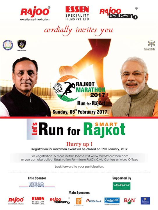 :: Let's Run for Smart Rajkot ::  #RajkotMarathon2017 #Marathon #RajooEngineers #Rajkot