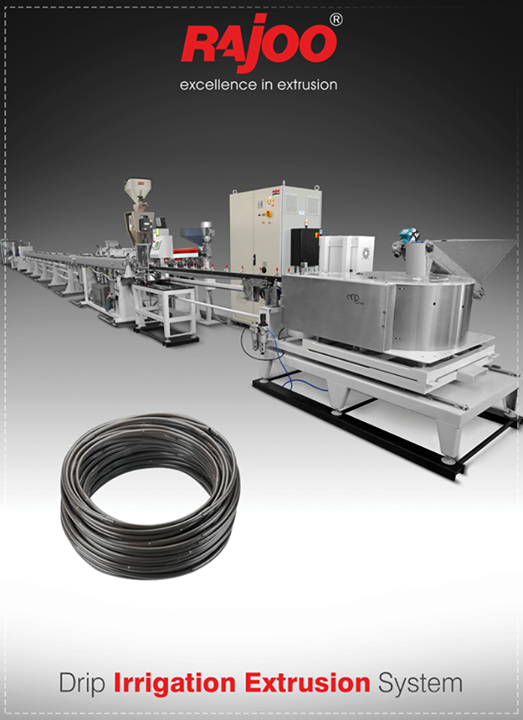 Rajoo Engineers Limited,India offers drip irrigation extrusion systems for round and flat dripper with servo driven dripper insertion device, max output 250kg/hours.  #DripIrrigation #RajooEngineers #Rajkot