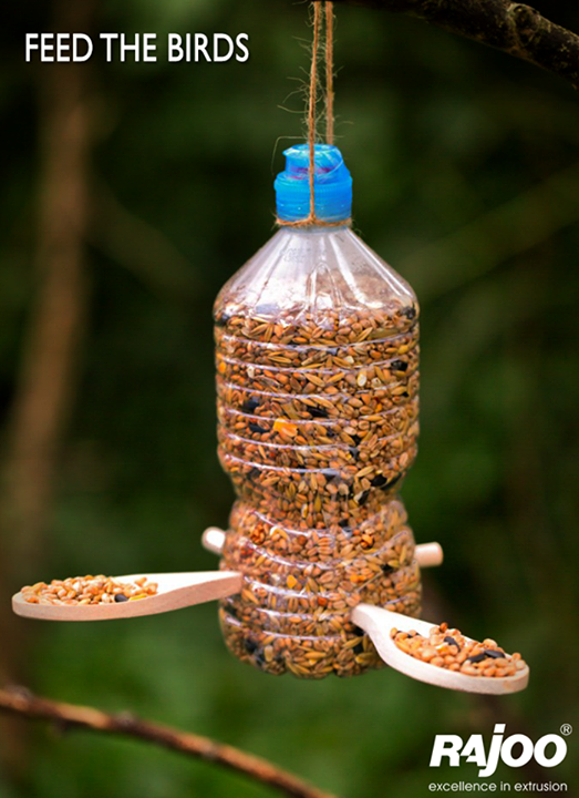 Take an empty water bottle, cut holes in the side, poke sticks through, fill it with seeds and hang it from a tree/window. Before you know it, birds (the feathery kind) will quite literally be flocking to your place.   #Plastic #RajooEngineers #Rajkot