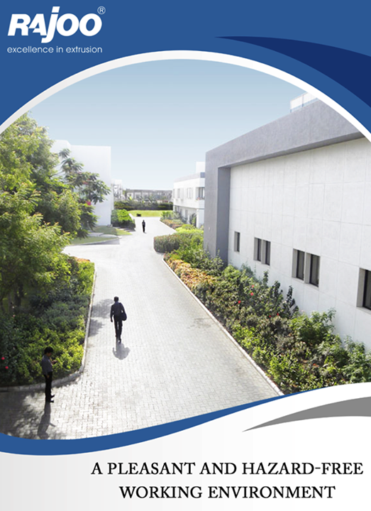 "To provide a pleasant and hazard-free working environment, with adequate facilities and welfare arrangements, company has successfully completed a ""Green Field project"" in approx 20,000 Sq.mt. of area to convert the concrete jungle with old buildings into soft landscaping and lush green gardens for increasing work efficiency of its employees. Also effectively employed renewable energy resources such as solar light and rain water harvesting throughout Rajoo's premises. A huge cafeteria with capacity of 130 employees at a time with recreation room is providing stress free working environment to employees.  #RajooEngineers #Rajkot"