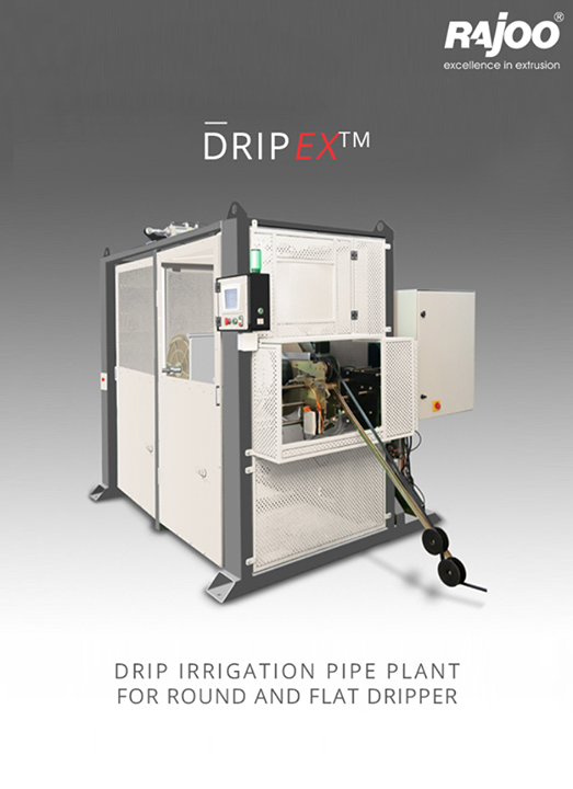Rajoo offers drip irrigation extrusion systems for round and flat dripper with servo driven dripper insertion device, max output 250kg/hours.  #RajooEngineers #Rajkot