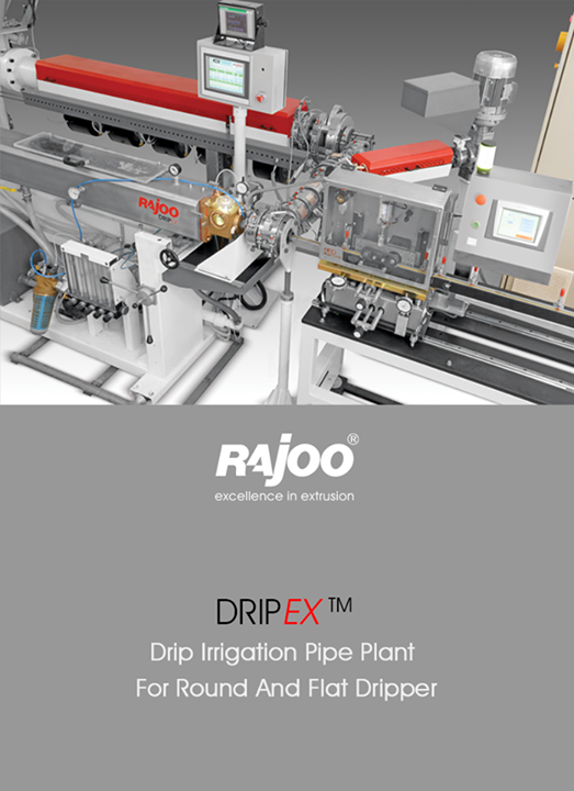 Rajoo Engineers Limited,India offers drip irrigation extrusion systems for round and flat dripper with servo driven dripper insertion device, max output 250kg/hours.  #RajooEngineers #Rajkot