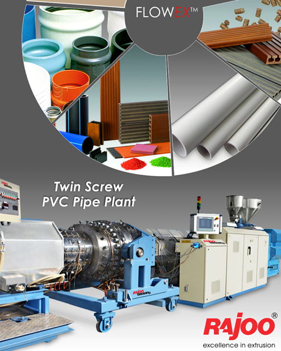 We provide wide range of counter rotating twin screw extruders for pipe and profile extrusion systems  #RajooEngineers #Rajkot