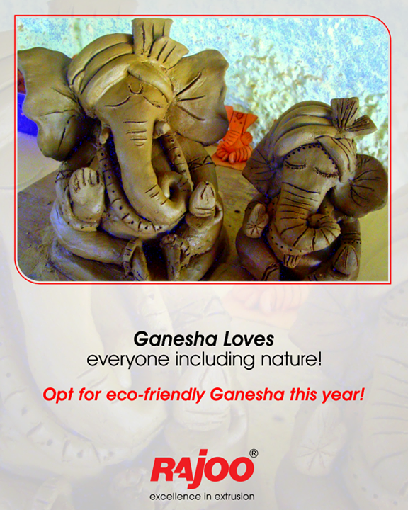 Let's pledge to welcome eco-friendly Ganesha this Ganesh Chaturthi for our environment!   #EcoFriendlyGanesha #GoGreen #GaneshChaturthi #RajooEngineers #Rajkot