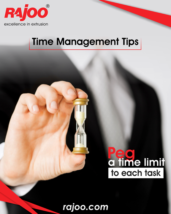 Be clear that you need to finish X task by 10am, Y task by 3pm, and Z item by 5:30pm. This prevents your work from dragging on and eating into time reserved for other activities.  #TimeManagementTips #RajooEngineers #Rajkot