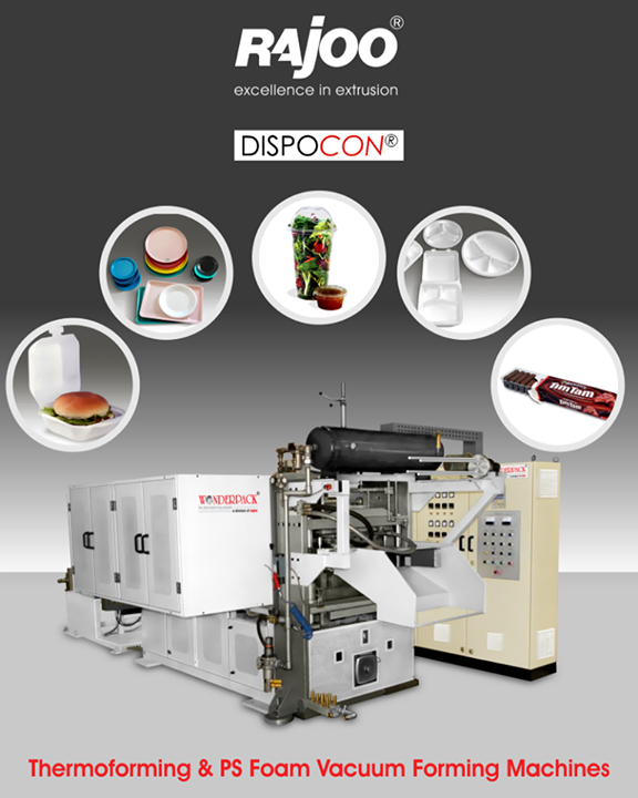 Dispocon finds application in various disposable products like tea cups, plate, hinge lid containers for fast food, egg containers, meet and fruit tray etc. Dispocon vacuum formers are exceptionally sturdy, durable and low maintenance machines firmly established as industry's most energy efficient and least vibrating vacuum formers with patented trim press.   #RajooEngineers #Rajkot