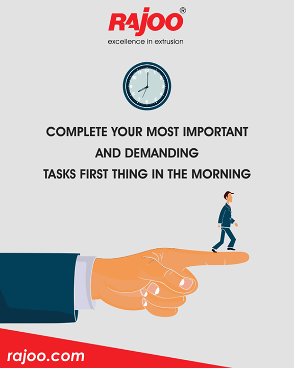 Most of us find our first hour of the work the most productive – make sure to use yours wisely! Oddly enough, you can focus more easily when your brain isn't fully awake. Booting-up brains have less excess energy for daydreaming and worrying about other tasks.  #TimeManagementTips #RajooEngineers #Rajkot