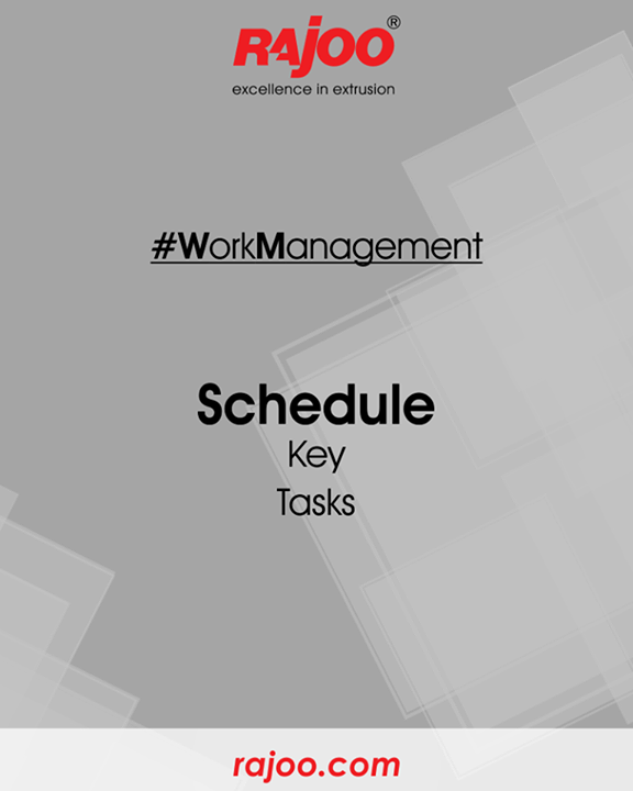 Scheduling tasks helps you work more efficiently and not get distracted. Complete the critical task first.  #WorkManagement #RajooEngineers #Rajkot
