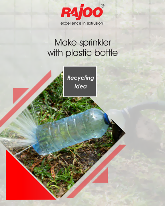 Recycle your bottle as water sprinkler with some holes at the bottom of the bottle and using it in your lawn.  #Recycling #RajooEngineers #Rajkot