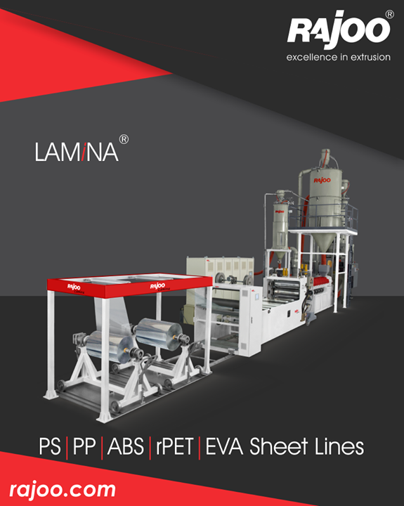 LAMINA series of sheet lines are designed for absolute ease of operation and are available in a host of configurations to suit individual customer's requirements with output ranging from 110 kg/hr to 1000 kg/hr, width ranging from 540 mm to 1400 mm, in single to five layer configuration for processing various polymers like PS, PP, PE and PET.  #RajooEngineers #Rajkot #PlasticMachinery #Machines #PlasticIndustry