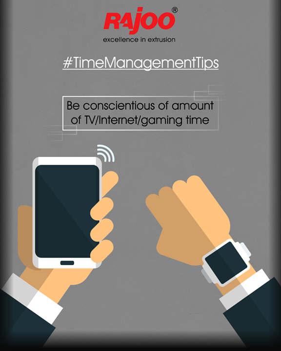Time spent browsing social media or gaming or watching TV and movies can be one of the biggest drains on productivity. Become more aware of how much time you spend on these activities. Simply by noticing how they're sucking up your time you'll begin to do them less.  #TimeManagementTips #RajooEngineers #Rajkot #PlasticMachinery #Machines #PlasticIndustry