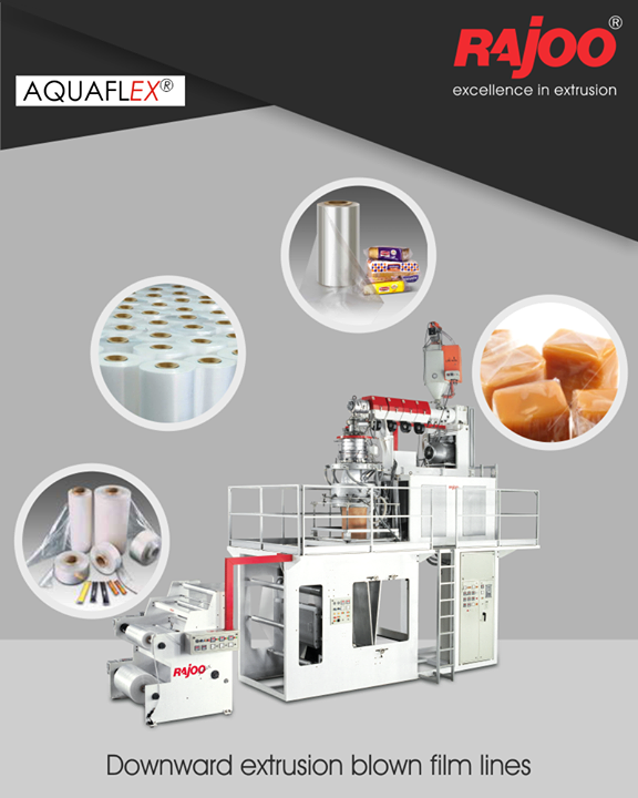 AQUAFLEX blown film lines are downward extrusion water quenched universal application film lines to produce various combinations of PP and PE grades tailored to customer's specific requirements.   #RajooEngineers #Rajkot #PlasticMachinery #Machines #PlasticIndustry