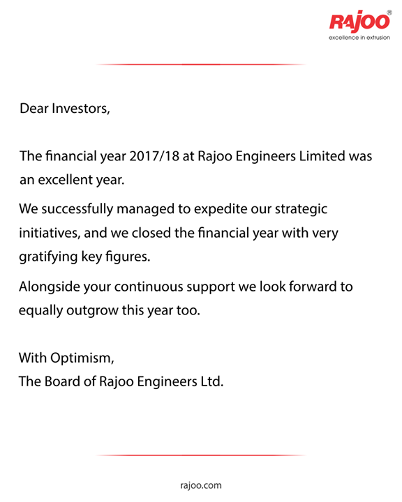 We are thankful towards the trust our investors have instilled in us.  #RajooEngineers #Rajkot #PlasticMachinery #Machines #PlasticIndustry