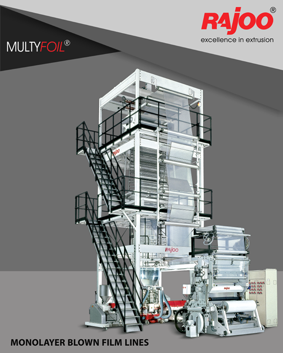 MULTIFOIL – Multi layer co-extrusion blown film lines are available in a wide range of configurations from two to nine layers to produce variety of films.  #RajooEngineers #Rajkot #PlasticMachinery #Machines #PlasticIndustry