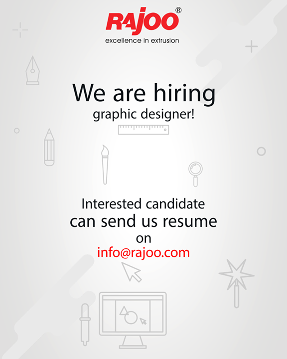 We are looking for a creative mind for our graphic designer vacancy at Rajoo Engineers Limited,India. Send your resume at info@rajoo.com.  #JobOpening #RajooEngineers #Rajkot #PlasticMachinery #Machines #PlasticIndustry