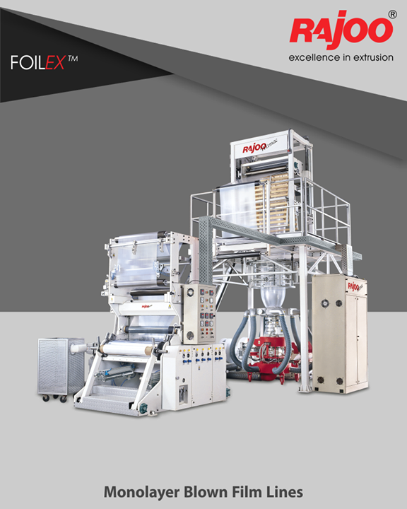 Rajoo Engineers Limited,India offers widest range of customized monolayer blown film lines – FOILEX, to suit a broad spectrum of resins, applications and output levels  #RajooEngineers #Rajkot #PlasticMachinery #Machines #PlasticIndustry