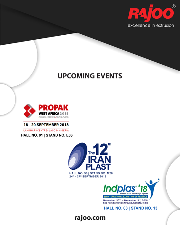 Upcoming Events.  #Plastic #RajooEngineers #Rajkot #PlasticMachinery #UpcomingEvents #Machines #PlasticIndustry