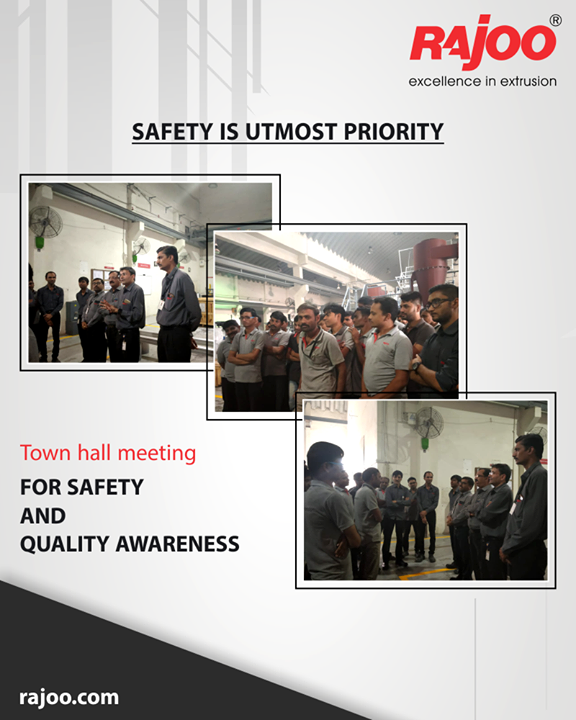 To ensure the utmost safety of our workers, we arrange for timely safety awareness drills at Town Hall!  #SafetyAwarenessDrills #RajooEngineers #Rajkot #PlasticMachinery #Machines #PlasticIndustry