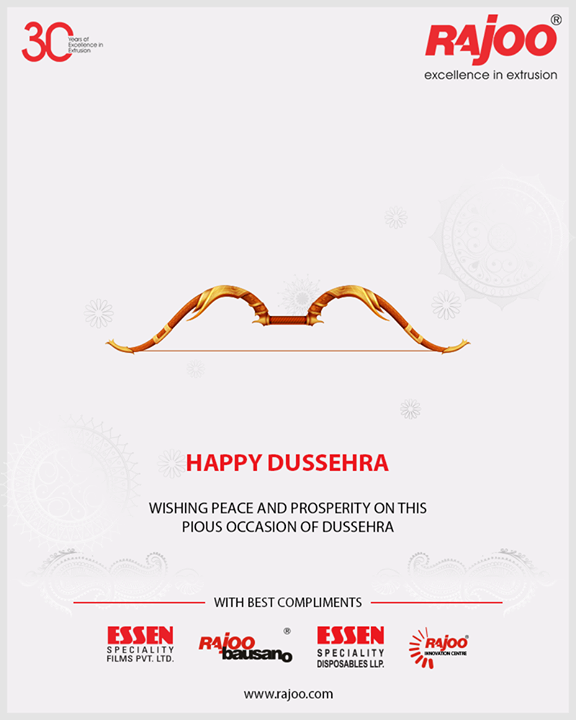 Wishing peace and prosperity on this pious occasion of Dussehra.    #HappyDussehra #Dussehra2018 #Dussehra #IndianFestivals #Celebration #RajooEngineers #Rajkot #PlasticMachinery #Machines #PlasticIndustry