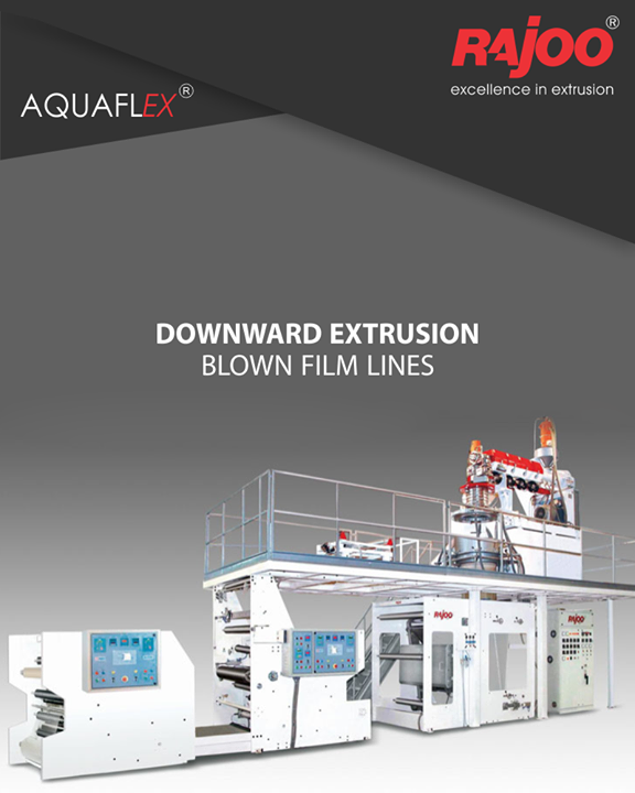 AQUAFLEX blown film lines are downward extrusion water quenched universal application film lines to produce various combinations of PP and PE grades tailored to customer's specific requirements. The lines are capable to process LD, LLD, HD, PP, and EVA. For narrow width bags, a twin die-head downward extrusion blown film line is also offered to produce narrow width PP bags for grocery packaging application. These lines are extremely energy efficient and give optimum production rate which makes the investment to installed capacity ratio much favorable.  #RajooEngineers #Rajkot #PlasticMachinery #Machines #PlasticIndustry
