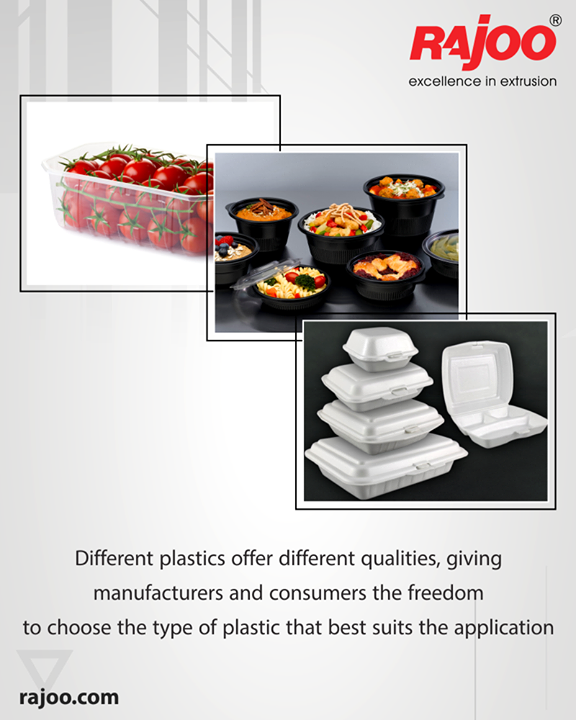 Different plastics offer different qualities, giving manufacturers and consumers the freedom to choose the type of plastic that best suits the application. Plastics can be rigid when protection is needed, or flexible for convenience's sake. They can be clear or opaque. And they can be molded into a wide variety of shapes and sizes.  Offering safety, quality, convenience, and savings, plastic packaging meets needs.  #RajooEngineers #Rajkot #PlasticMachinery #Machines #PlasticIndustry