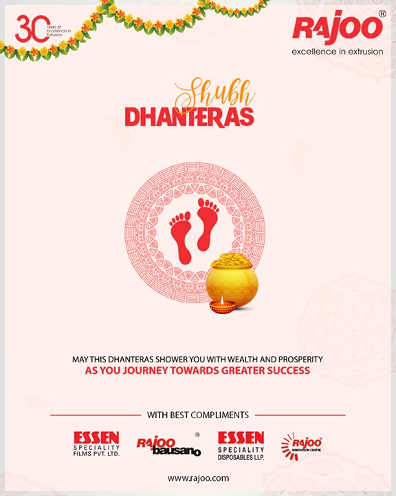 May this Dhanteras shower you with wealth and prosperity as you journey towards greater success.   #Dhanteras #Dhanteras2018 #ShubhDhanteras #IndianFestivals #DiwaliIsHere #Celebration #HappyDhanteras #FestiveSeason #RajooEngineers #Rajkot #PlasticMachinery #Machines #PlasticIndustry
