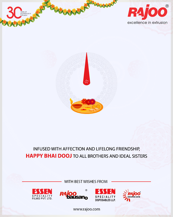 Infused with affection & friendship, Happy Bhai Dooj to all brothers & sisters!  #BhaiDooj #Diwali2018 #Celebration #FestiveSeason #IndianFestivals #BrotherSister #HappyBhaiDooj #RajooEngineers #Rajkot #PlasticMachinery #Machines #PlasticIndustry