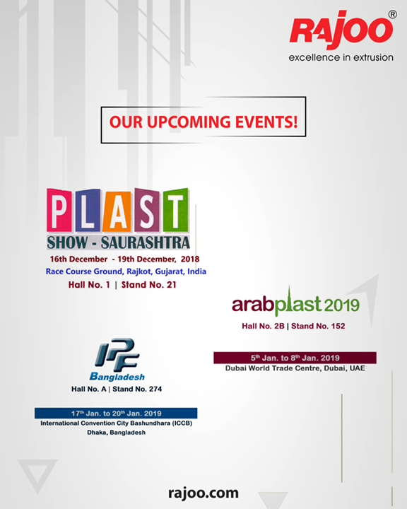 Upcoming Events!  #RajooEngineers #Rajkot #PlasticMachinery #Machines #PlasticIndustry