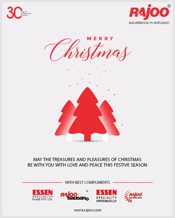 May the treasures and pleasures of Christmas be with you with love and peace this festive season.   #Christmas #MerryChristmas #Christmas2018 #Celebration #RajooEngineers #Rajkot #PlasticMachinery #Machines #PlasticIndustry