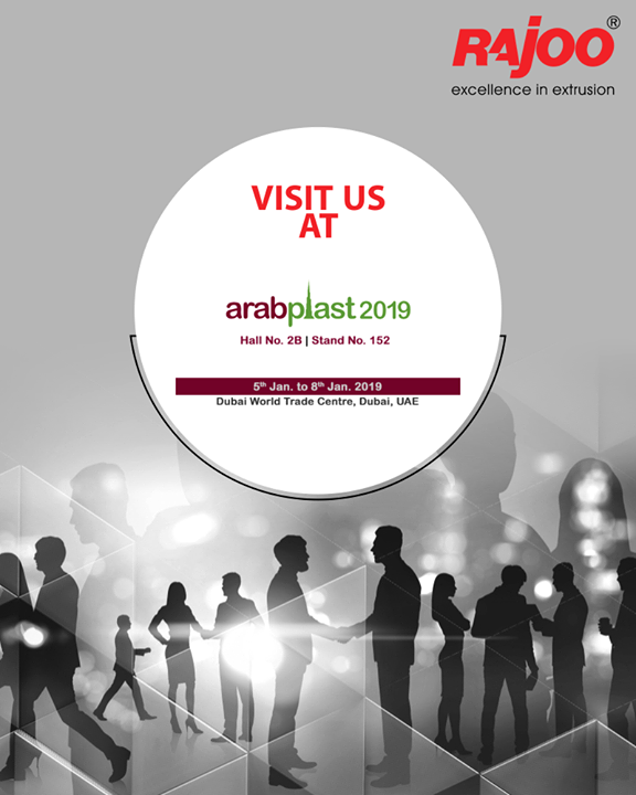 Visit us at #ArabPlast2019.  #UpcomingEvents #RajooEngineers #Rajkot #PlasticMachinery #Machines #PlasticIndustry