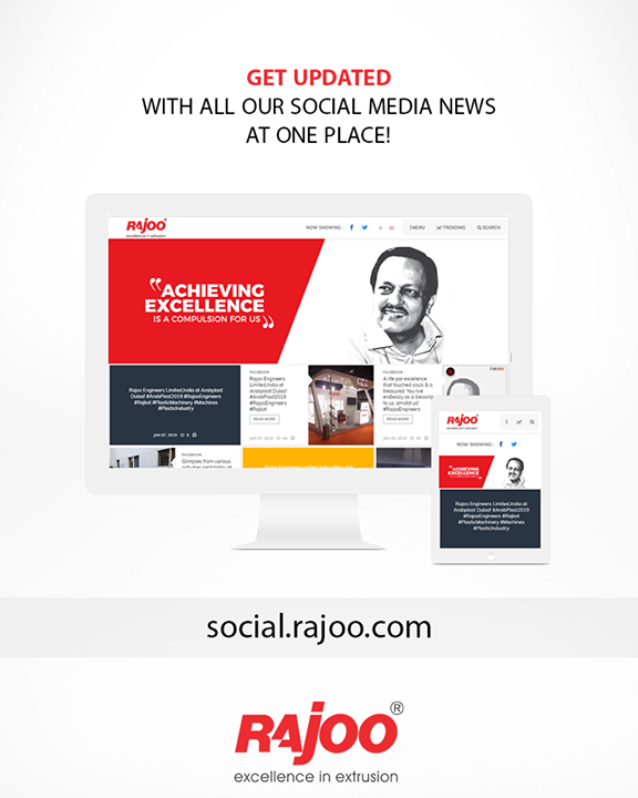 Get updated with all our social media news at one place!  social.rajoo.com  #SocialMedia2point0 #RajooEngineers #Rajkot #PlasticMachinery #Machines #PlasticIndustry