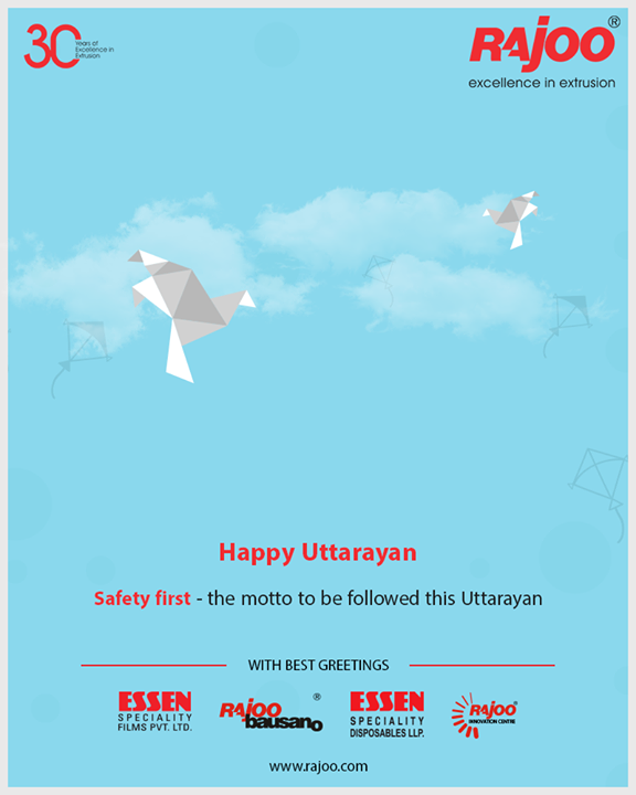 """Safety first- the motto to be followed this Uttarayan.""  #HappyUttarayan #Uttarayan2019 #MakarSankranti #IndianFestivals #FestivalsOfIndia #KiteFestival #KiteFlying #RajooEngineers #Rajkot #PlasticMachinery #Machines #PlasticIndustry"