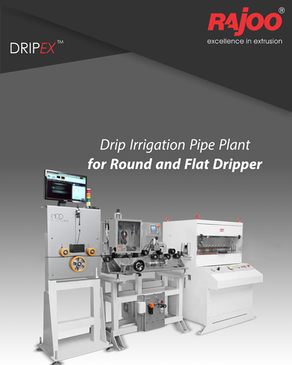 Rajoo Engineers Limited,India offers drip irrigation extrusion systems for round and flat dripper with servo driven dripper insertion device, max output 250kg/hours. Dripex is equipped with two stainless steel Vacuum sizing tank and cooling System for precise water pressure, high corrosion resistant and long useful life. The 3-axis mechanical adjustment system with lateral position control allows quick precise positioning. The double belt haul-off is provided for optimum pulling force and to prevent ovality in pipe.  #RajooEngineers #Rajkot #PlasticMachinery #Machines #PlasticIndustry