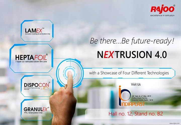 Be there. Be future-ready for Nextrusion 4.0.  #Nextrusion4 #RajooEngineers #Rajkot #PlasticMachinery #Machines #PlasticIndustry