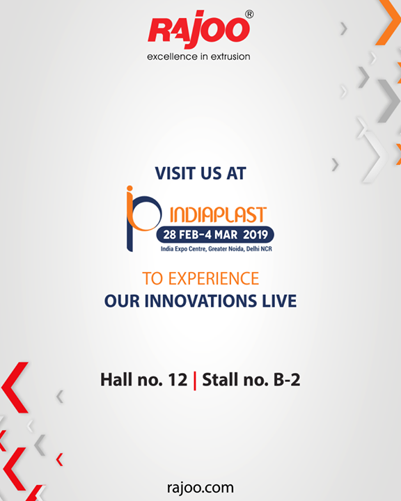 See you at Indiaplast 2019!  #IndiaPlast #RajooEngineers #Rajkot #PlasticMachinery #Machines #PlasticIndustry