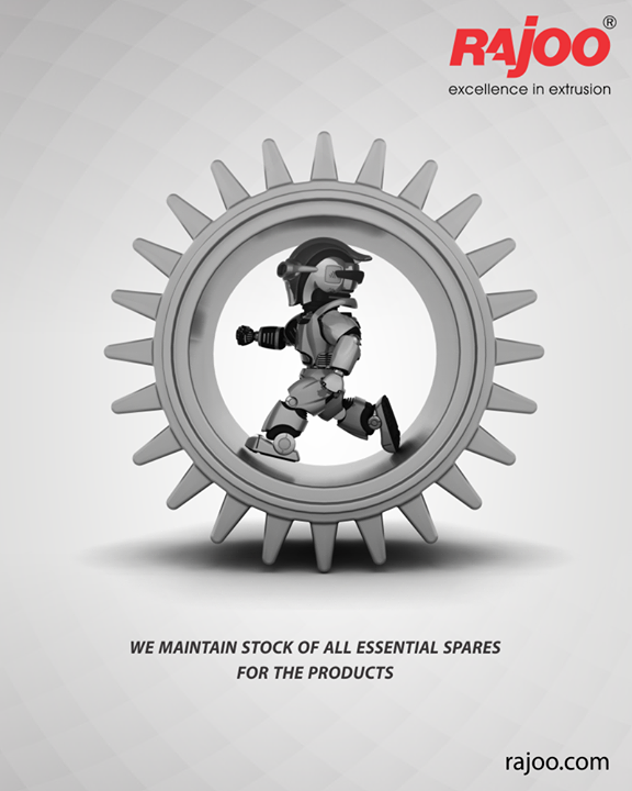 We maintain stock of all essential spares for the products. This helps us to meet our client's requirement that comes with urgency as malfunctioning of any single spare part of a machine can put the entire process on hold.  #RajooEngineers #Rajkot #PlasticMachinery #Machines #PlasticIndustry