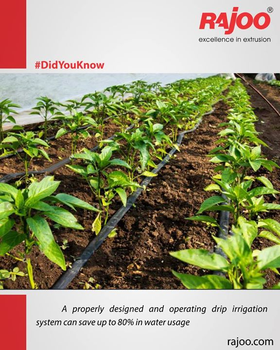 A properly designed and operating drip irrigation system can save up to 80% in water usage, in comparison to other irrigation methods  #DidYouKnow #RajooEngineers #Rajkot #PlasticMachinery #Machines #PlasticIndustry