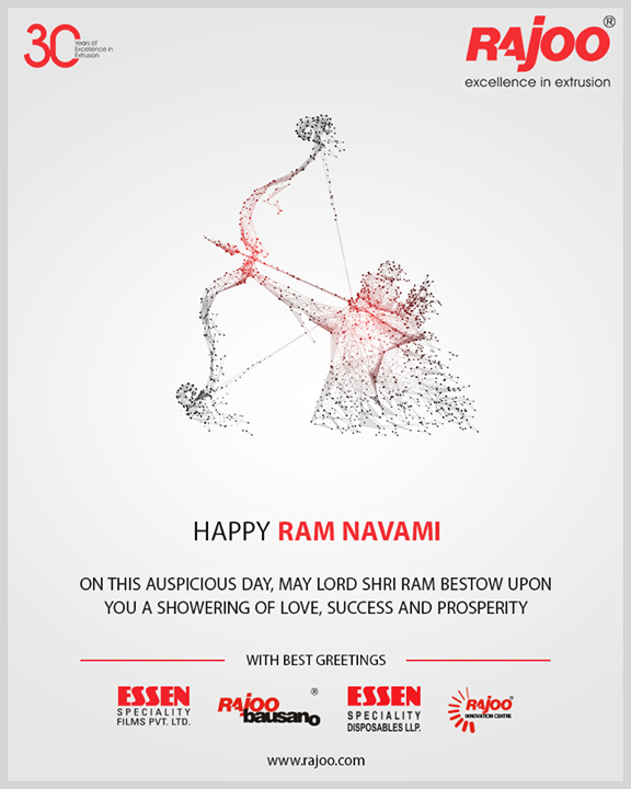 On this auspicious day, may Lord Shri Ram bestow upon you a showering of love, success, and prosperity.  #RamNavami #रामनवमी  #JaiShriRam #RamNavami2019 #HappyRamNavami #IndianFestival #RajooEngineers #Rajkot #PlasticMachinery #Machines #PlasticIndustry