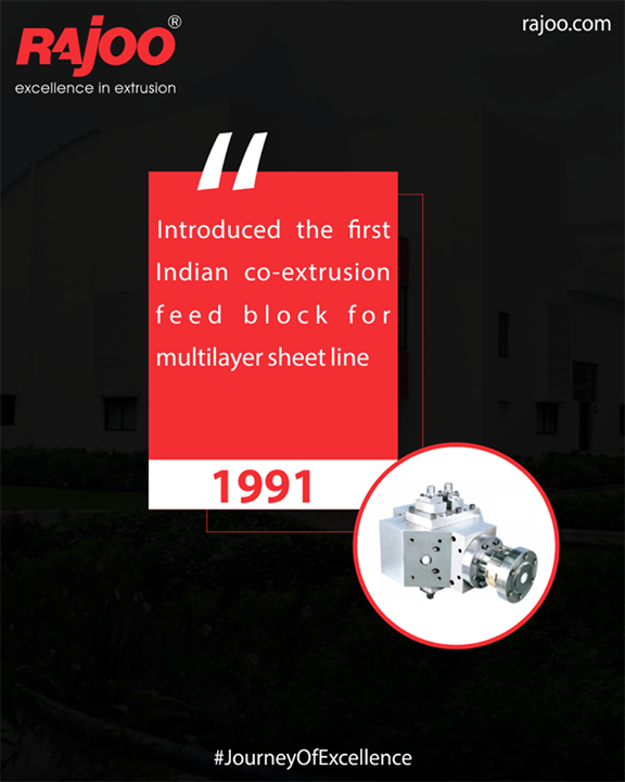 Rajoo Engineers Limited,India introduced the first Indian co-extrusion feed block for multilayer sheet line  #JourneyOfExcellence #RajooEngineers #Rajkot #PlasticMachinery #Machines #PlasticIndustry