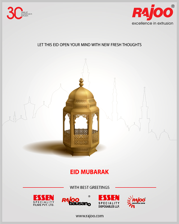 Let this Eid open your mind with new fresh thoughts.  #EidMubarak #Eid2019 #EidalFitr #Eid #RajooEngineers #Rajkot #PlasticMachinery #Machines #PlasticIndustry