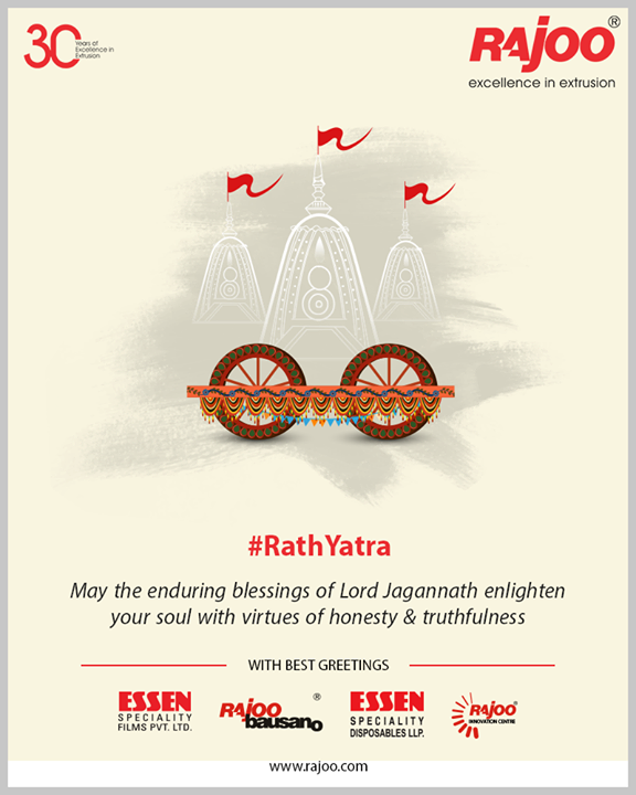 May the enduring blessings of Lord Jagannath enlighten your soul with virtues of honesty & truthfulness  #RathYatra2019 #RathYatra #LordJagannath #FestivalOfChariots #Spirituality #RajooEngineers #Rajkot #PlasticMachinery #Machines #PlasticIndustry