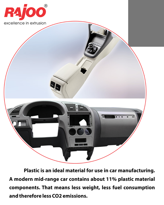 Plastic is an ideal material for use in car manufacturing. A modern mid-range car contains about 11% of plastic material components. That means less weight, less fuel consumption, and therefore less CO2 emissions.  #DidYouKnow #RajooEngineers #Rajkot #PlasticMachinery #Machines #PlasticIndustry